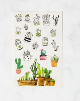planches de stickers cactus effet aquarelle bullet journal