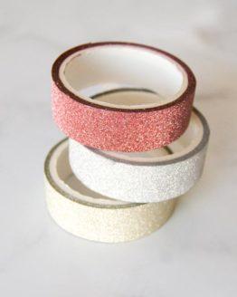 Washi tape paillette or argent cuivre