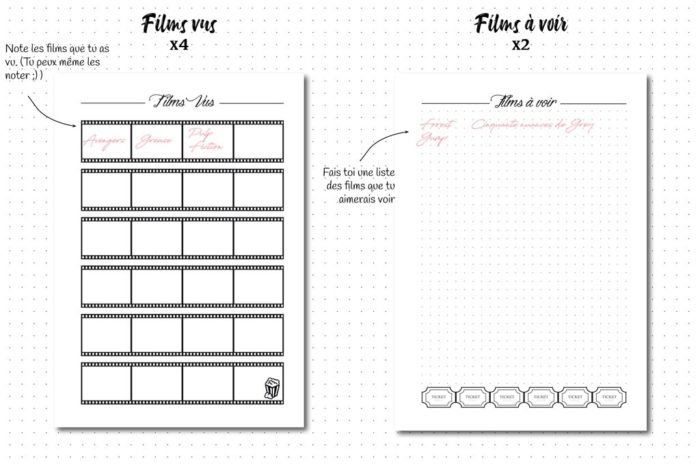 pack media serie film livre recharge bullet journal