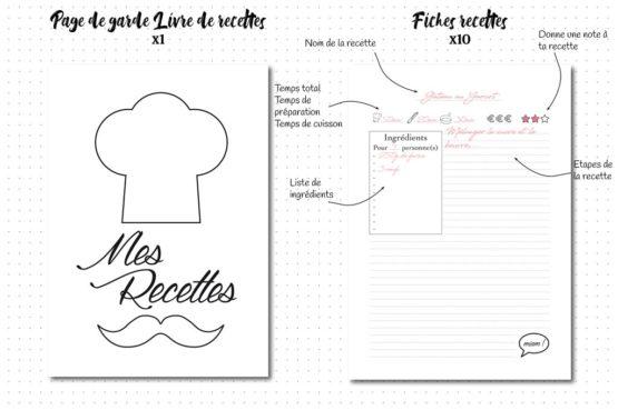 pack repas recharge bujo page de garde et fiches recettes