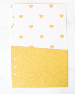Pochette coeur doré pour classeur bullet journal