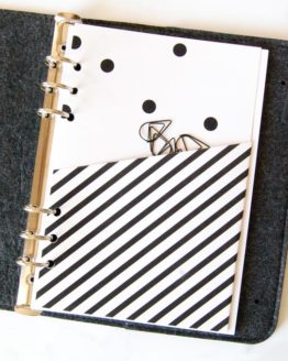 Pochette pois black and white pour classeur bullet journal