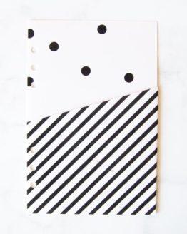 Pochette pois black and white pour classeur bullet journal