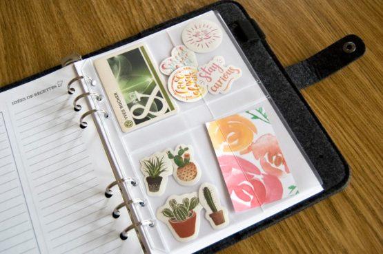 Porte carte transparent pour classeur bullet journal