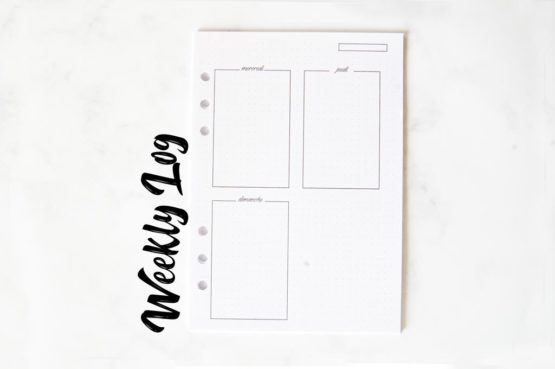 Pack basique weekly log page semaine