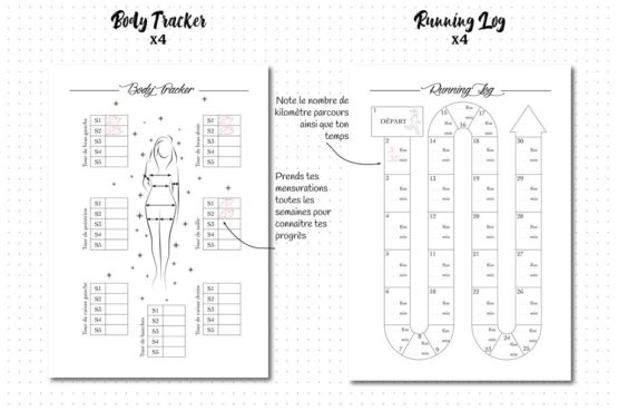 Pack sport, recharge pour bullet journal body tracker et running log