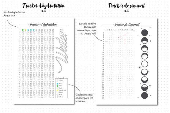 Pack sport, recharge pour bullet journal tracker d'hydratation et sommeil