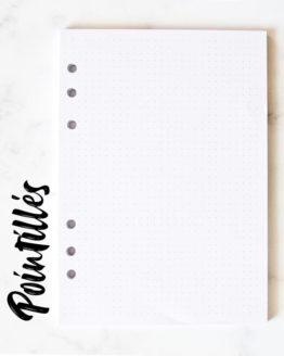 Recharge de pages pointillés pour bullet journal. Recharge pour classeur A5